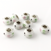 4 LAMPWORK 14x9MM GLASS BEADS 5mm HOLE - WHITE - D053